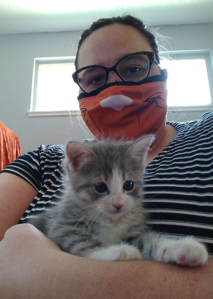 me holding a small kitten. The kitten is grey and white