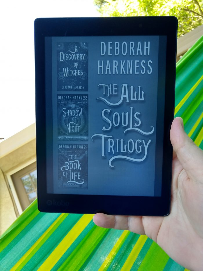 The All Souls Trilogy cover (three books in one file), shown in black and white on Kobo ereader
