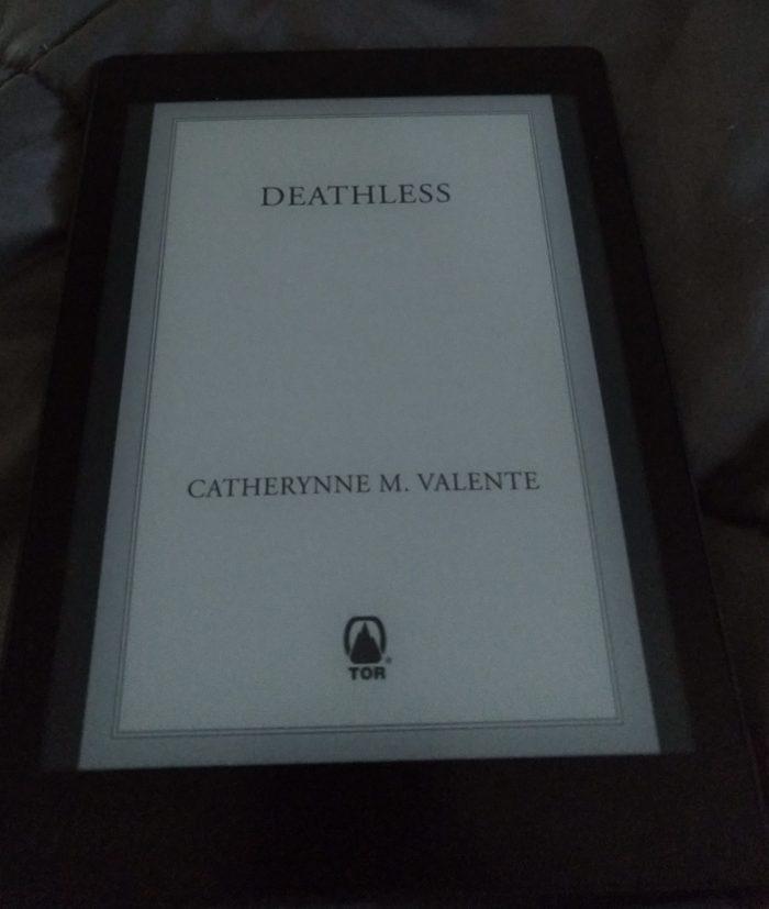 "book cover for ""Deathless"" by Catheyrnne Valente, shown on Kobo ereader"