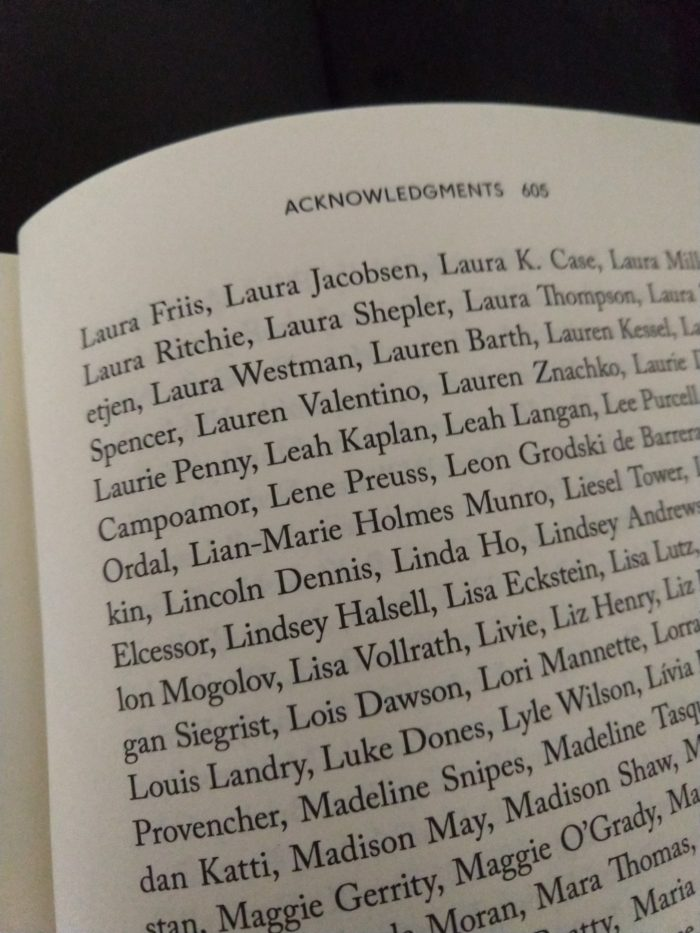 """an """"acknowledgements"""" page from The Actual Star that includes my name"""