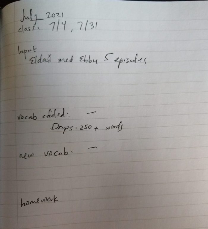 notebook page describing what I did in my Icelandic studies in July 2021