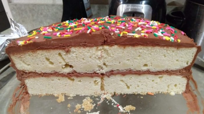 a yellow cake with chocolate whipped cream filling and chocolate frosting, topped with rainbow sprinkles