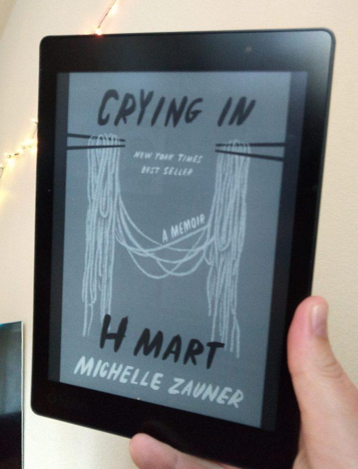book cover for Crying in H Mart: A Memoir by Michelle Zauner shown on Kobo ereader