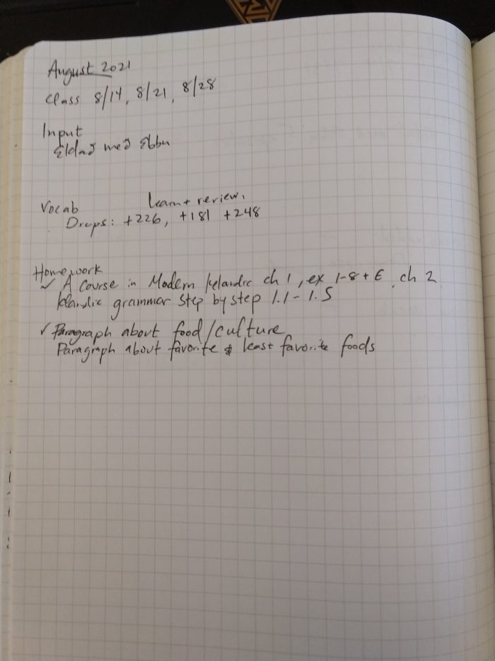 notebook page recording my Icelandic studying efforts in August 2021
