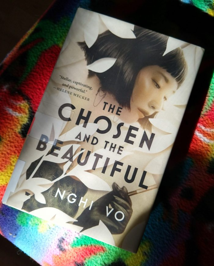hardback book: The Chosen and the Beautiful, illuminated by light coming in from a window